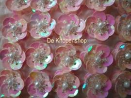 Pailletten bloemetje licht roze pst
