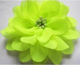 Bloem chiffon 11 cm neon geel/groen