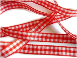 Rood/wit ruitje satijn 1cm