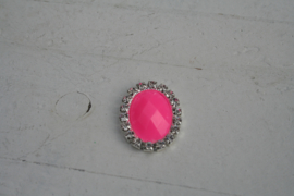 Flatback rhinestone ovaal zuurstok roze mat