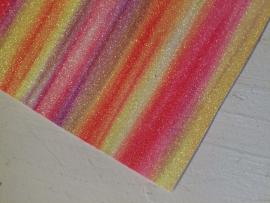 Regenboog glitter leer geel/oranje/roze  21x29 cm