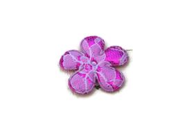Bloem metallic hot pink/kant wit 3.5cm