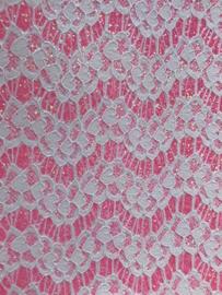 Leer kant off white glitter neon roze 20x30cm