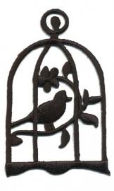 Opstrijk applicatie vogel in kooi zwart