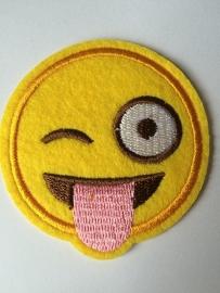 Opstrijk applicatie emoticons knipoog roze tong