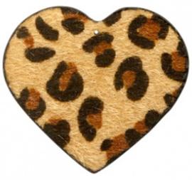 Hanger pu leer  hart harig met tijgerprint camel bruin