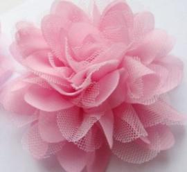 Bloem ciffon tule  roze 11cm