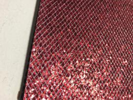 Glitter leer grof ruit motief rood/zilver