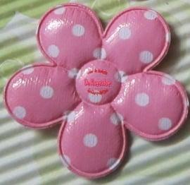 PVC Polkadot bloem 4,5cm roze