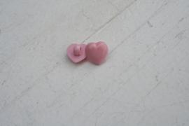 Knoop hart roze parelmoer 1.3cm