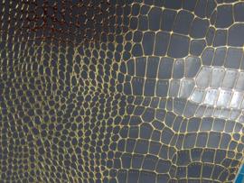 krokodillenprint leer met fijne goud lijntjes grijs