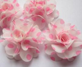 Bloem chiffon off white neon roze polkadot 4cm