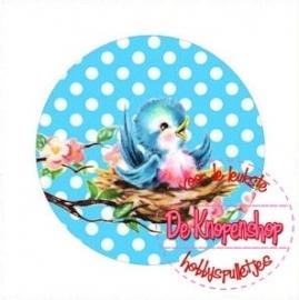 Flatback  vogeltje polkadot aqua (k644)