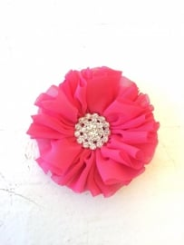 Luxe bloem met strass  fel roze