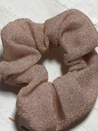 Scrunchie Haarwokkel pink/beige glitter