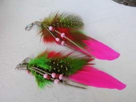 Ibiza veertjes met hanger neon roze/groen/geel