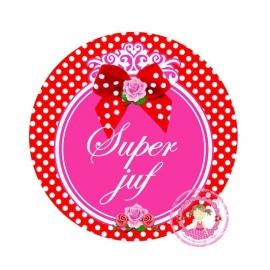 Flatback tekst Super juf polkadot rood(k969)