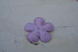 Bloem satijn/kant lila 3.5 cm