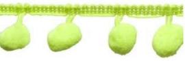 Pompomband neon groen/geel 2cm