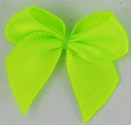 Strikje neon geel/groen satijn