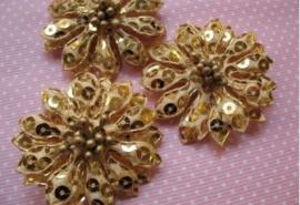 Bloem goud pailletten 5 cm