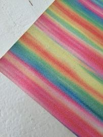 Regenboog glitter leer  20x22 cm