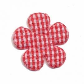 Geruite bloem 3,5cm rood