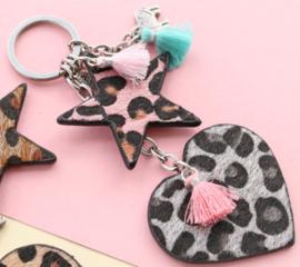 Hanger pu leer  hart harig met tijgerprint pink