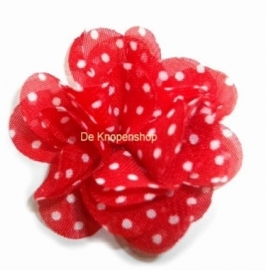 Chiffon bloem rood polkadot