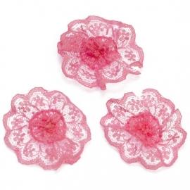 Kanten rozet/bloem neon pink 4 cm