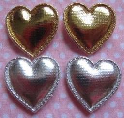 Hartje metallic  2cm zilver/goud per stuk