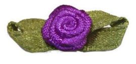 Roosje satijn paars op blad 10x33 mm (B)