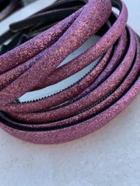 Diadeem glitter roze 1cm