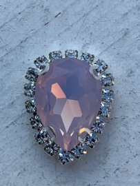Flatback rhinestone druppel luxe licht roze spiegelend 2.3cm