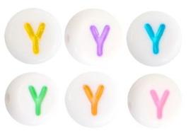 Letterkraal van acryl letter Y Multicolor-Wit