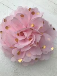 Bloemen chiffon 10 cm licht roze polkadot goud