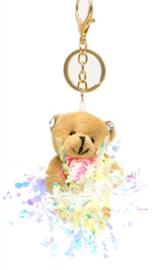 Tas/Sleutelhanger Beertje met glitters beige