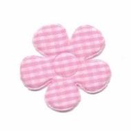 Geruite bloem 3,5cm licht roze