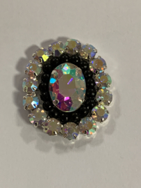 Luxe rhinestone diamant meekleurend parels zwart