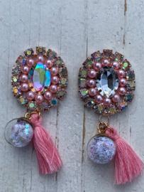 Luxe rhinestone diamant parels roze bol met sterretjes en kwastje