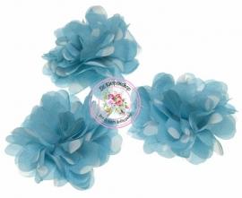 Grote bloem aqua & polka dot 7cm