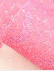 Leer kant hartjes  roze glitter  20x30cm