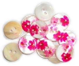 KN557a Bloemen knoop fuchsia & roze