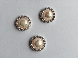 Flatback  parelmoer parel met strass gold/ivoor
