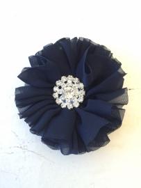 Luxe bloem met strass  donker blauw