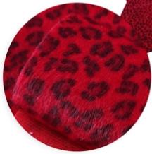 Leer/stof velvet  panter/tijger rood 20x30 cm