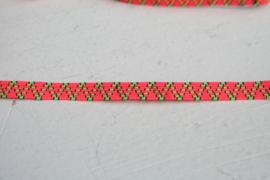 Skinny haarband elastiek neon oranje met neon groen/zwartmotief