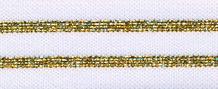 Elastisch band  gestreept wit met goud glitter 3 cm