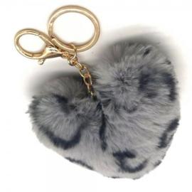 Tas/Sleutelhanger fluffy hart tijger grijs