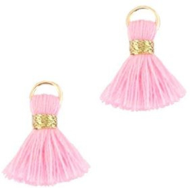 Kwastje Ibiza/bohemian  style 1.5cm Gold-licht roze